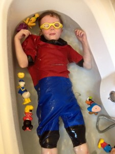 Ben, straight into the bath with his Dry Suit from Aoibheann's Pink Tie
