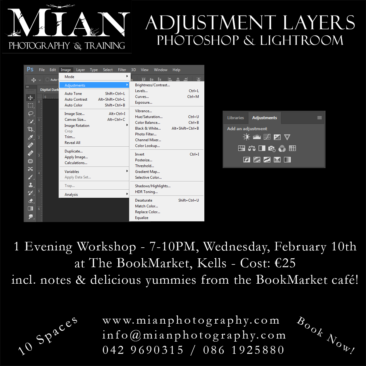 Adjustment Layers in Photoshop & Lightroom Workshop Course Kells Meath