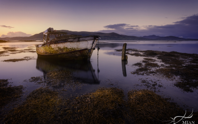 Sunset, Carlingford Lough, Louth, Boat Wreck, Ship Wreck, Moored
