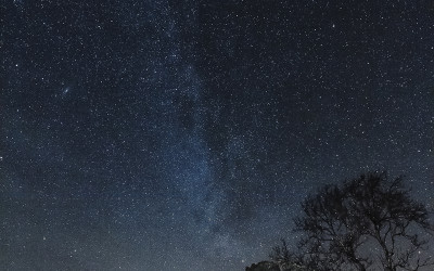 The Milkyway over Flood's Folly at Enagh, Virginia, Co. Cavan in winter.