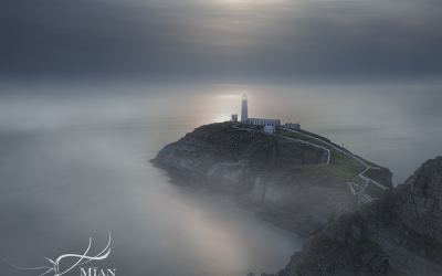 A foggy evening at South Stack Lighthouse, Anglesey, Wales