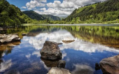 Glendalough Lakeside Reflection Rocks Water Wicklow Ireland