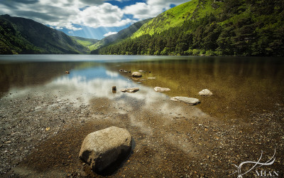 Glendalough Reflection Lake Valley Wicklow Ireland