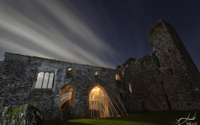 Light Painting Long Exposure Ruin of Bective Abbey County Meath Boyne Valley Ireland
