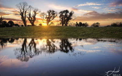 Sunset at a Flooded Field in Knocktemple, Virginia, Co. Cavan, Ireland